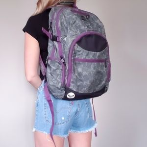Roxy Grey & Purple Camo Large Backpack